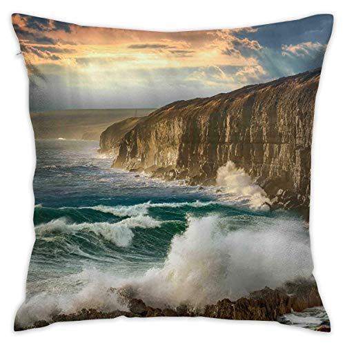 LULABE Landscape Cliff Sea Waves Sky Rocks Clouds Decorative Throw Pillow Modern Square Form Stuffer for Couch Sofa Or Bed Set Cozy Home Decor Size:16 X 16 Inches/40cm x 40cm