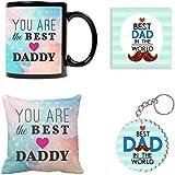 YaYa Cafe Best Daddy Cushion Cover 12X12 Inches, Mug 330 Ml, Coaster, Keychain Gifts Hamper For Dad