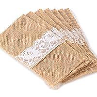 Advantez 10-Pack pizzo floreale dell'arco del raso naturale iuta della tela da Sacchi Sacchetti regalo (Bridal Shower Regalo Regalo Di Nozze)