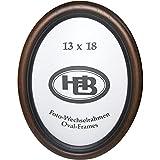 Effect Bilderrahmen 864521 Wandrahmen Profil HB oval Nussbaum 13 x 18 cm, Holz