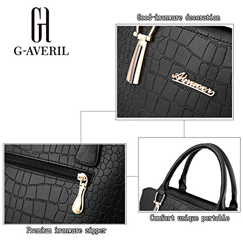 (G-AVERIL) Borse In Vera Pelle Designer Top-Handle Spalla Del Tote Della Borsa Per Le Donne Blu scuro