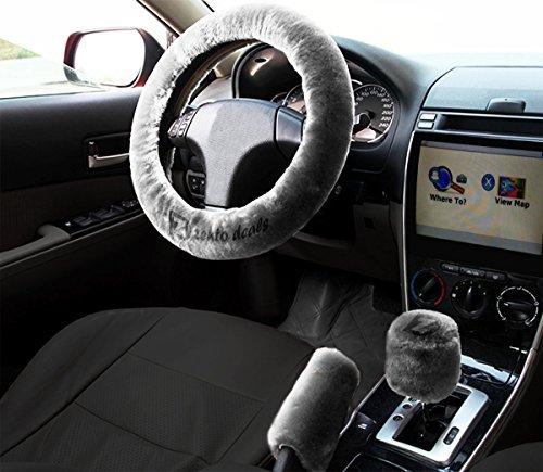 Zento Deals antiscivolo volante auto freno a mano peluche del cambio di colore grigio