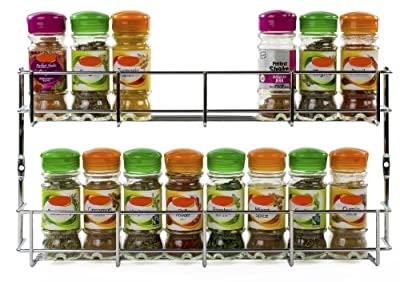 Andrew James Spice Rack with Tier Options, Large Chrome Herb & Spice Rack Organiser for Spice Jars or Packets, Wall Mounted or Cupboard Door Fitting, Fixings Included by Andrew James