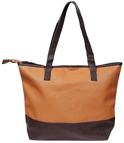Akzent Damen Lederimitat ideal für Kurztrips Wochenende Einkaufen 43x32x30 cm - 3600036-001 beige/braun