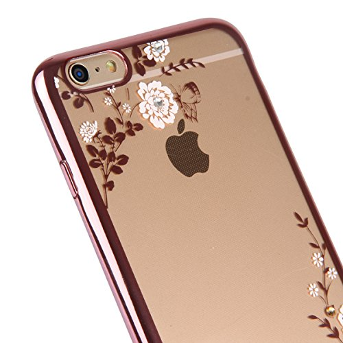 Copertura per 4.7 Apple iPhone 6/6s, MAOOY Flessibile Oro di Lusso Floreale Border Placcatura Back Cover in Gomma Morbida Trasparente Protettiva Custodia Brillantini Resistente ai Graffi Case per iPh Fiore Bianco Rosa