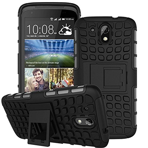 Yes2Good FOR HTC Desire 526G Plus (526G+) Tough Hybrid Flip Kick Stand Spider Hard Dual Shock Proof Rugged Armor Bumper Back Case Cover For HTC Desire 526G Plus (526G+) (Black)