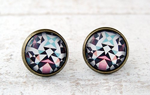 Miss Lovie Damen Ohrstecker Kaleidoskop Ohrringe Cabochon 12mm Modeschmuck Pink Blau Bronze - 2