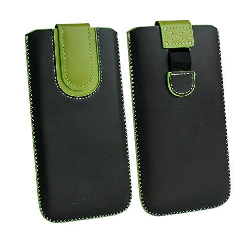 emartbuy Schwarz/Grün Premium-Pu-Leder-Slide In Case Abdeckung Tashe Hülle Sleeve Halter (Größe F) Mit Zuglaschen Mechanismus Kompatibel mit Die Unten Aufgeführten Smartphones