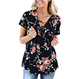 ASHOP Mode Frauen Kurzarm Bandage Blumendruck Tops Bluse Shirt Tee (L, Schwarz)