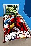 Disney Housse de Couette + Taie Avengers Shield 140x200 + 63x63 cm - 100% Coton