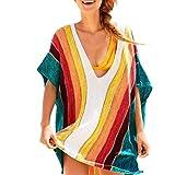 Amphia - Handgefertigte Regenbogengewebte Sonnenschutzhemd-Bikini-Bluse - Frauen-reizvoller Strand-Regenbogen vertuschen Sarong-Wickel-Bikini-handgemachter Pareo-Kittel
