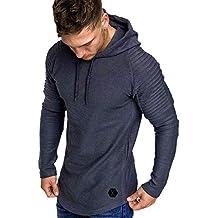 Yvelands con Capucha Camiseta de Manga Larga para Hombre Color sólido a Rayas Plisado Slim fit