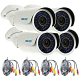 OWSOO 4X 1500TVL Cámara CCTV AHD 720P + 4X 60ft Cable de Vigilancia Exterior Impermeable IP66 30 IR LED IR-Cut Visión Nocturna Plug and Play