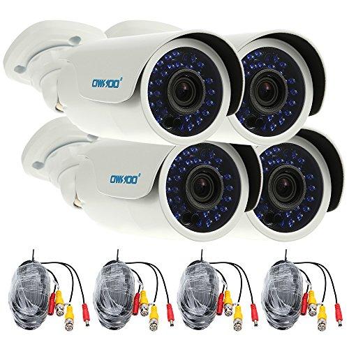 OWSOO 4X 1500TVL Cámara CCTV AHD 720P + 4X 60ft Cable