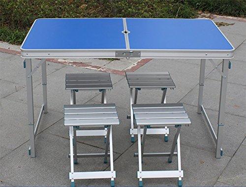 YXF-Metallklapptisch Outdoor-Klapptisch aus Holz - Stuhl-Set - Camping mit Sonnenschirmen und Kissen und höhenverstellbar - Bein Holz/blau/Klapp ESS-und Kaffee-und Couchtisch