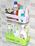 #9: Absales 2 Pieces Plastic Vacuum Suction Bathroom Cup Bathroom Kitchen No Drill Storage Rack Removable Reusable Storage Rack Holder Organizer Basket Shower Shelf (26 * 12 * 7 cm, 2 PCS, Multi Colour)
