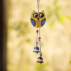 ExclusiveLane 'Owl Motif' Decorative Hanging Metal Wind Chime (2 Bells) -Wind Chimes For Home Balcony Good Sound Hanging Bells Decorative Chimes Hanging Decor Home Décor Garden Door Decoration Stylish