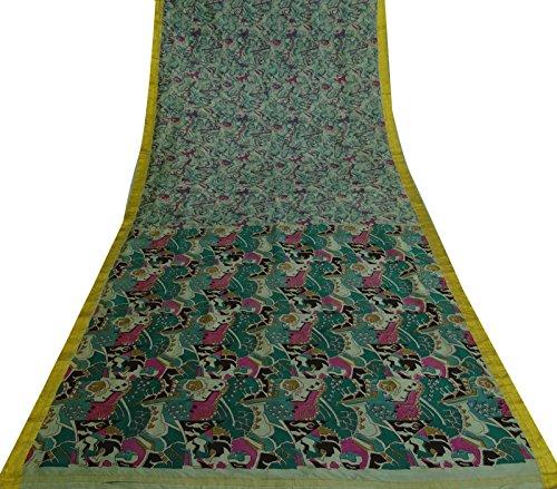 Vintage indische Reine Seide Grün Saree Abstrakt Ethnic Gebrauchte Craft Sari Gedruckt -