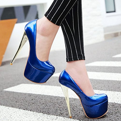 TAOFFEN Femmes Chaussures Mode Aiguille Plateforme Talon Haut Escarpins Soiree Bleu