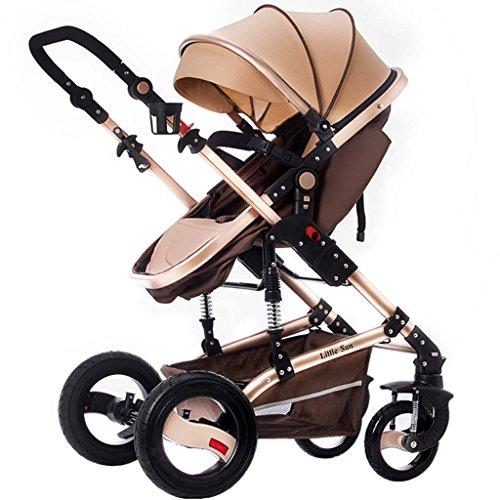 Baby Kinderwagen ZXLDP Kinderwägen High Landscape sitzen Oder Liegen Gefaltet Baby Multifunktions-Zwei-Wege-Allrad-Trolley Prams