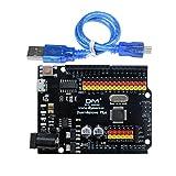 Diymore Duemilanove Plus Placa de Desarrollo microcontrolador ATmega328P CH340 (sustituir FT232RL) módulo E/S Micro Escudo para Arduino Duemilanove con el Cable I2C SPI