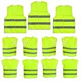 10 Stück Warnweste Pannenweste Sicherheitsweste Neon Gelb Warnwesten Unfall-Weste 360-Grad-Sichtbarkeit STAR-LINE® Knitterfrei, Waschbar - Sicherheit-weste Weste KFZ EN 471