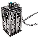 Dr Who Tardis tono argento collana con ciondolo in vetro azzurro