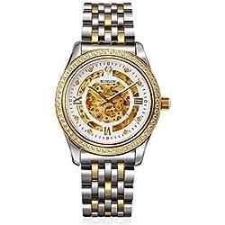 binlun Mens 18K Oro Reloj Diamond Esqueleto Automático Mecánico Vestido Relojes para Hombres