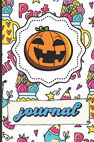 Halloween Pumpkin Journal: Party Time Happy Birthday Lined Notebook Blue Bird Party Hats Stars Candy Hearts Cover