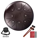 Steel Tongue Drum, 8 Noten 8-Zoll-Handtrommel-Schlaginstrument mit Mallets Music Book Bag für Meditation Yoga Zazen Sound Healing