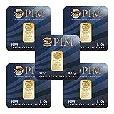 5fois Doré Carte Blister 0,1g Pim (lingot d'or 0,10G 999,9or fin lbma certifié)...