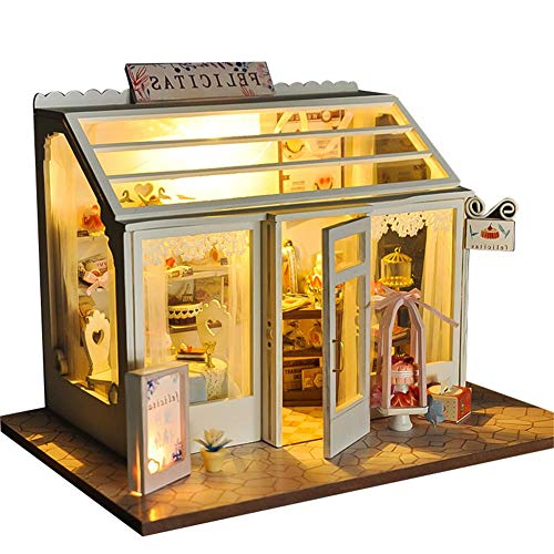 Casa de muñecas de madera Niñas Tienda de pasteles Tienda de flores Jardín de bricolaje Casa de muñecas Juguetes Niños Rompecabezas Jugar Juego de roles en miniatura Casa de muñecas hecha a mano