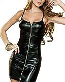 DULEE Damen Kunstleder trägerloses PVC-Kleid mit Reißverschluss Dessous Overalls Wet Look Clubwear Partykleid Erotik Bodysuit, Schwarz S