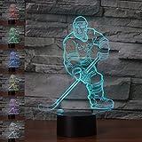 3d Illusion Ice Hockey atleta de la noche ajustable 7 colores LED 3d Creative Interruptor táctil estéreo visual atmósfera mesa regalo para Navidad