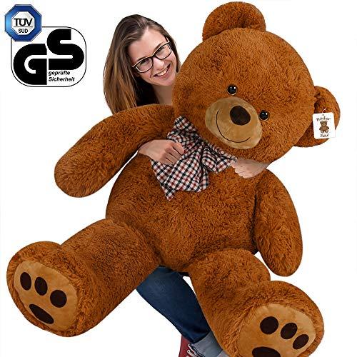 Deuba Teddy | Größe XXL 150cm | Farbe Braun | Teddybär Kuscheltier Stofftier Plüschbär Plüschtier Braunbär Teddi