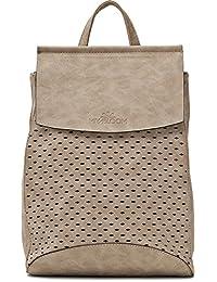 Stylischer Damen Rucksack - Damentasche mit Schulterriemen - Daypack mit Rautenmuster- 21 x 27 x 17,5 cm - Schultertasche von MIYA BLOOM