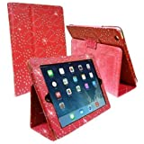 RED DIAMOND BLING SPARKLY CRYSTAL PU LEATHER MAGNETIC FLIP CASE COVER STAND SKIN FOR APPLE iPAD 2 / 2nd 3 / 3rd 4 / 4th GEN GENERATION NEW IPAD By Connect Zone TM