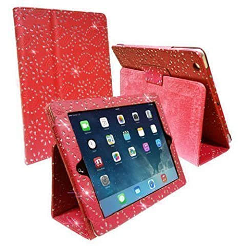 RED DIAMOND BLING SPARKLY CRYSTAL PU LEATHER MAGNETIC FLIP CASE COVER STAND SKIN FOR APPLE iPAD 2 / 2nd 3 / 3rd 4 / 4th GEN GENERATION NEW IPAD By Connect Zone ™