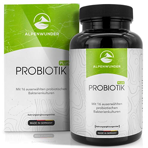Alpenwunder Probiotik Kulturen, 100% MADE IN GERMANY, 180 Probiotika Darmsanierung Kapseln mit 16 Bakterienstämmen, 100% Vegan, hergestellt gemäß DIN EN ISO 9001