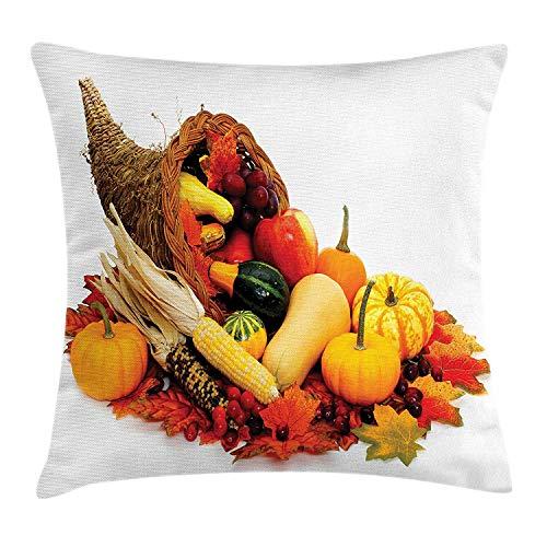 FAFANI Harvest Throw Pillow Cushion Cover, Thanksgiving Photograph with Butternut Squash Pumpkin Corn Cornucopia, Decorative Square Accent Pillow Case, 18 X 18 Inches, Vermilion Orange Brown