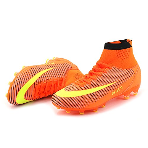 Aleader Men's Football Training Shoes Outdoor Soccer Boots Orange 9 UK