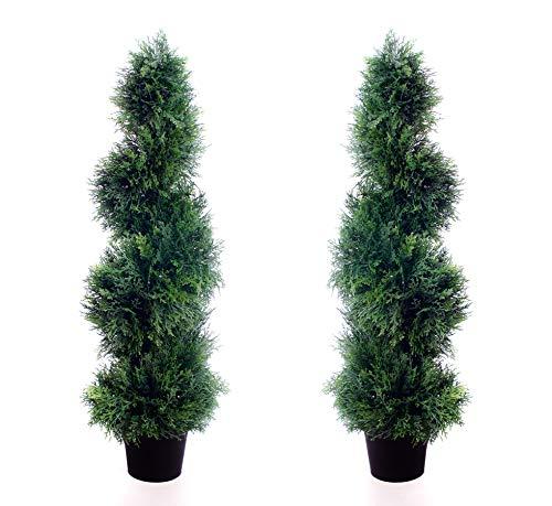 2Künstliche (TM) 90cm 3ft Cedar Spiral Topiary Bäume Alt Buchsbaum * * UV-Verblassen geschützt * * (Stehen Pflanze Künstliche)
