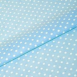 Tela de lunares, color blanco y azul pastel con lunares blancos de 5mm (por metro) de polialgodón