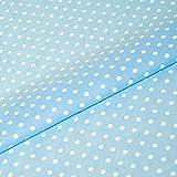 Pastelblauer Polka Stoff, 5mm, weiß gepunktet