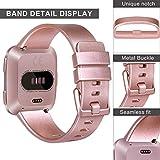 Yandu for Fitbit Versa Strap, Classic Replacement Wristband Watchband for Fitbit Versa Smartwatch Large Small (Rosegold, Small)