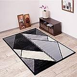 Alfombra De Salón Moderna – Color Negro Gris De Diseño Refleto Geométrico – Suave – Fácil De Limpiar – Top Precio – Diferentes Dimensiones S-XXXL 130 x 190 cm