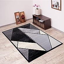 Alfombra De Salón Moderna – Color Negro Gris De Diseño Refleto Geométrico – Suave – Fácil De Limpiar – Top Precio – Diferentes Dimensiones S-XXXL 160 x 220 cm