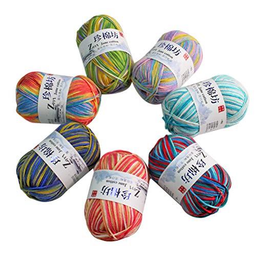 Vosarea 7pcs Bunte Stränge weiche Milch Baumwolle Garn für häkeln Stricken und Basteln DIY Pullover Decke Schal -