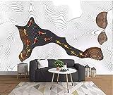 YUANLINGWEI Benutzerdefinierte Fototapete Wandbild 3D Geprägte Fisch Abstrakte Linien Muster Seide Wandbild Geeignet Für Zuhause Wohnzimmer Hintergrund Wanddekoration,50Cm (H) X 70Cm (W)