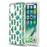 Eouine Coque iPhone XS, Coque iPhone X, Etui en Silicone 3D Transparente avec Motif Peinture [Anti Choc] Housse de Protection Coque pour Téléphone Apple iPhone XS/X - 5,8 Pouces (Cactus)